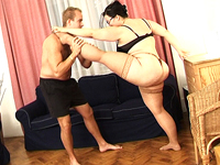 Lusty chubby houswife loves hot stretching.