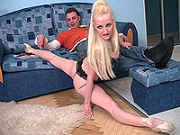 Hot skinny ballerina have sex on the floor.